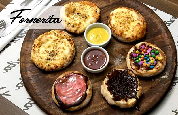 10 Mini Pizzas Salgadas e Doces da Fornerita