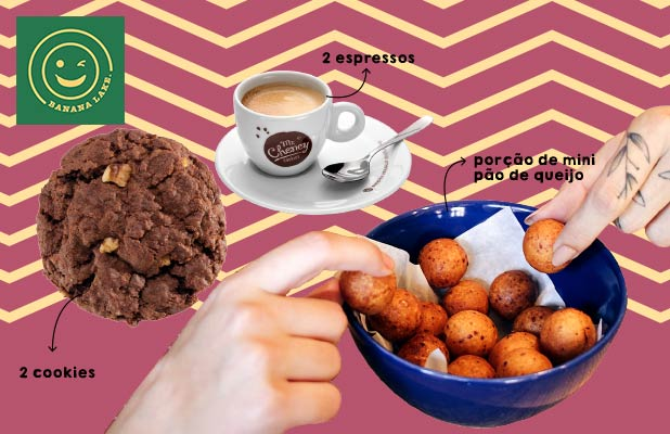 2 Cafés, 2 Cookies e Mini Pães de Queijo no Banana Lake