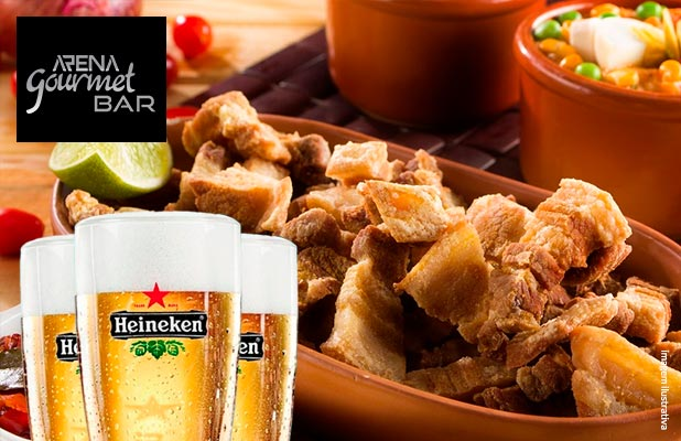 Panceta Frita + 4 Chopes Heineken no Arena Bar